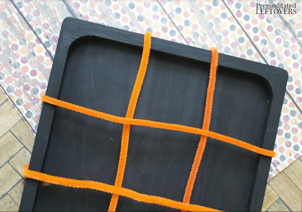 DIY Pumpkin Tic Tac Toe Board- glue on pipe cleaners