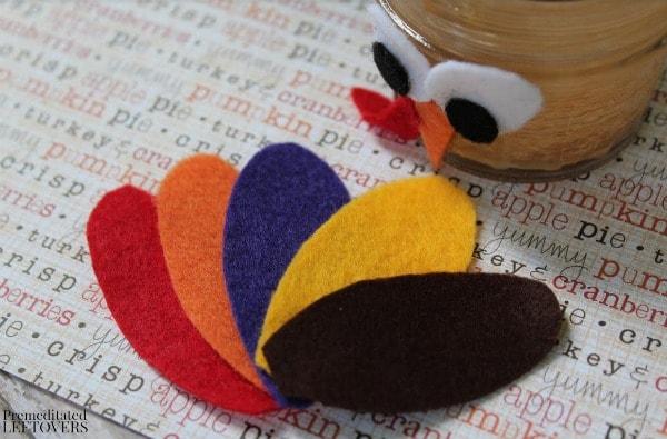 Mason Jar Turkey Craft- cut felt feathers