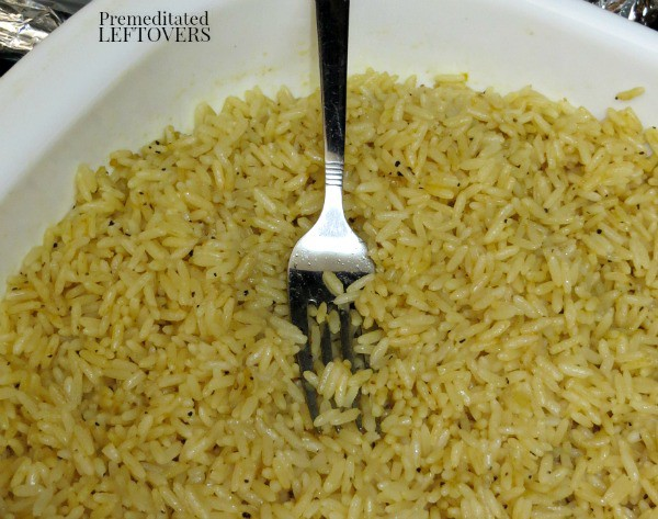 Baked Rice Recipe- fluff with fork