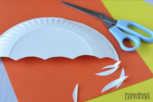 Paper Plate Umbrella Craft- cut out & Paper Plate Umbrella Letter U Craft for Kids Tutorial