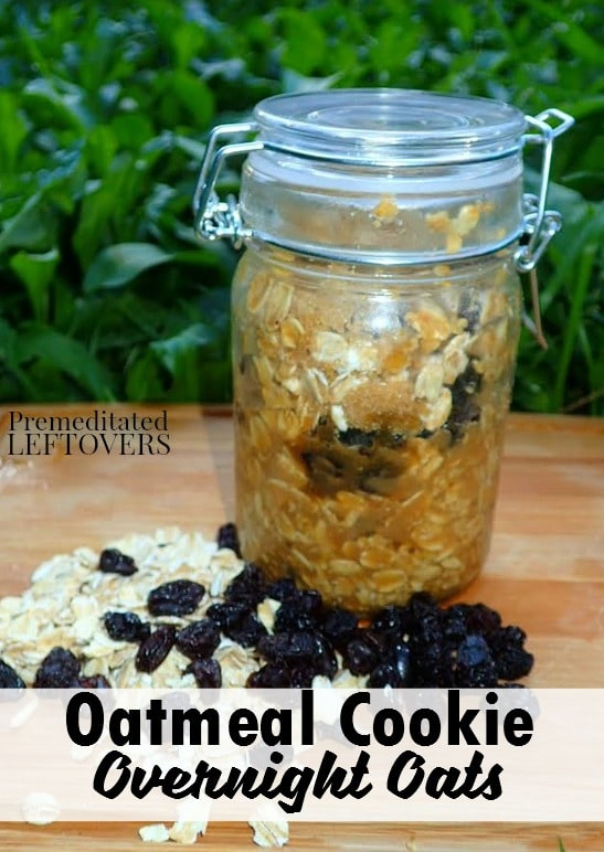 These Oatmeal Cookie Overnight Oats are a hearty and delicious way to eat your whole grains. Prepare this easy recipe in 5 minutes and enjoy in the morning.