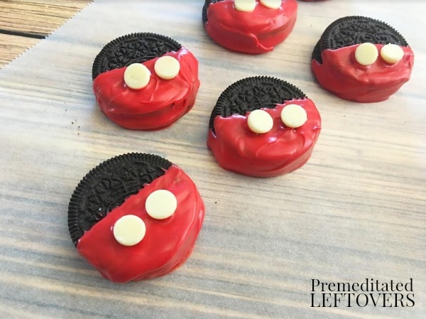 Mickey Mouse Chocolate Dipped Oreo Cookies- add white chocolate chips