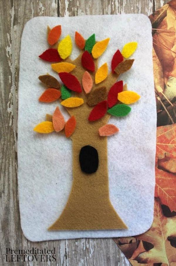 Felt Fall Tree Craft- colorful felt tree