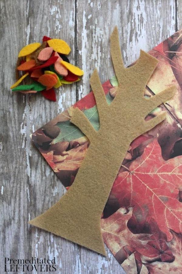 Fall Felt Tree Craft- cut out felt pieces