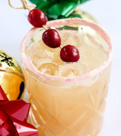 Get into the holiday spirit with this delicious cocktail recipe. Just shake, strain, and serve this simple Apple Cider Sour with Meringue Rim!