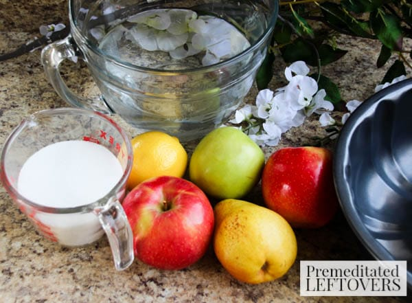 Apple, Pear, and Lemon Ice Ring- ingredients