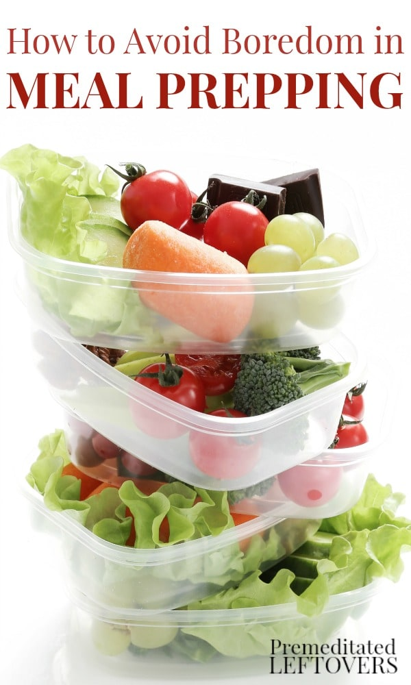 How to Avoid Boredom in Meal Prepping. To prevent bland, boring meals, use these tips to create delicious meal plans using time-saving Meal Prepping techniques.