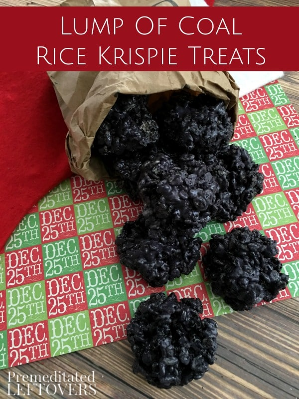 this lump of coal rice krispie treats recipe is fun to make and receive around christmas