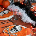 Orange and Black Skeleton Halloween Tablescape