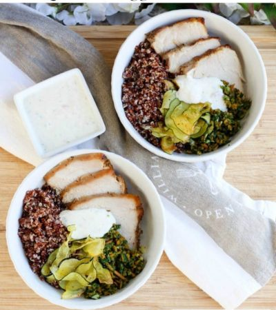 This Red Quinoa Bowl with Pork and Vegetables is a healthy, protein rich recipe. It is also a delicious way to use leftover pork loin.