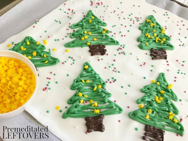Christmas Tree Chocolate Bark- add sprinkles to trees