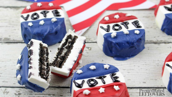 "Celebrate your right to vote with this Non-Partisan Vote ""Button"" Chocolate Covered Oreo Recipe"