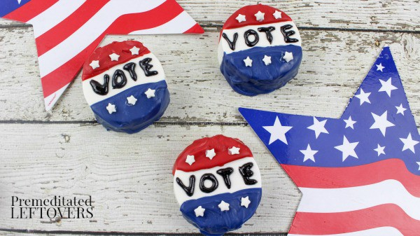 Celebrate your right to vote with these Non-Partisan Vote Button Chocolate Covered Oreos Recipe