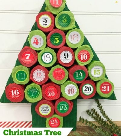 This Christmas Tree Advent Calendar is an easy craft to make with recycled paper towel rolls. Each day you count down reveals a hidden treat!