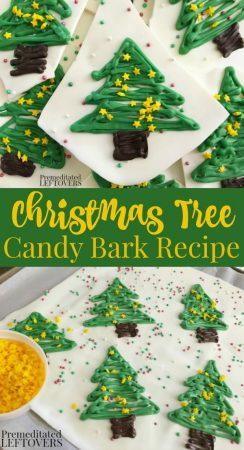 Christmas Tree White Chocolate Bark Candy Recipe