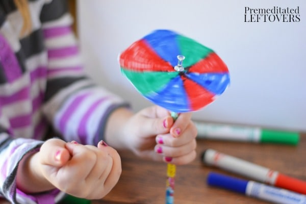 Color Spinner Science Experiment for Kids- attach spinner onto pencil