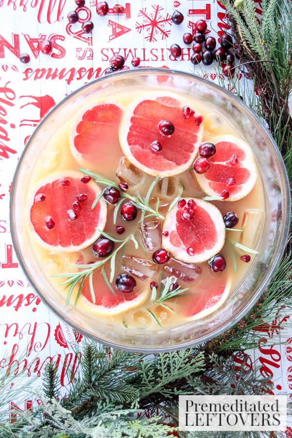 Grapefruit and Pomegranate Punch with Rosemary is a perfect recipe for the holidays. It's easy the throw together and chill until served.