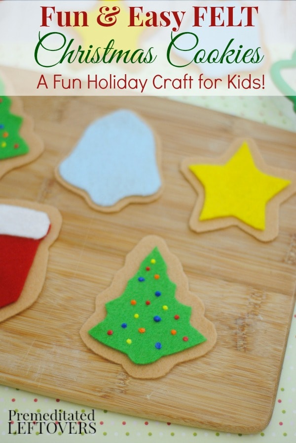 These Felt Christmas Cookies are an adorable craft for pretend play or to hang on your Christmas tree. Kids will enjoy decorating each colorful cookie!
