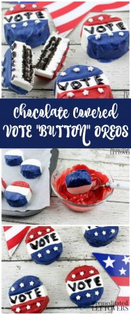 """I Voted """"Sticker"""" Chocolate Covered Oreos for Election Day"""