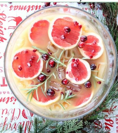 This Grapefruit and Pomegranate Punch with Rosemary is a perfect recipe for the holidays. It's easy the throw together and chill until served.