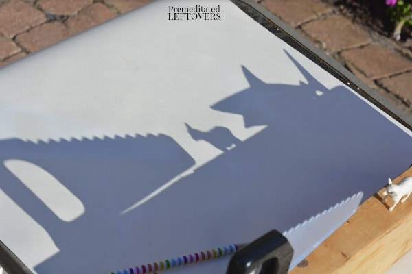 Letter S Activity: Sunshine Shadows Tracing- set up objects on wood beam