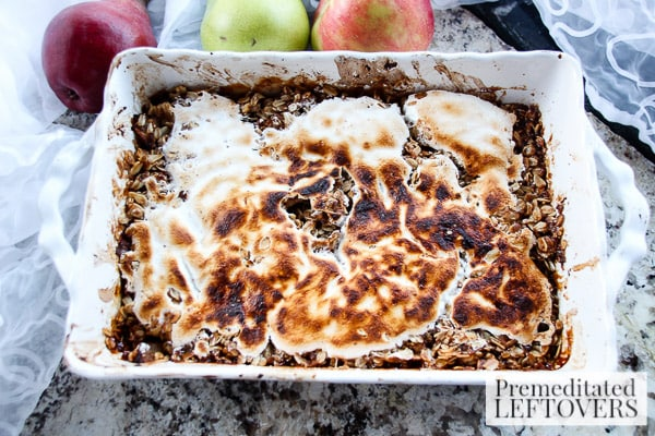 Pear, Apple, and Cranberry Crisp with Marshmallow- crisp with marshmallow creme topping