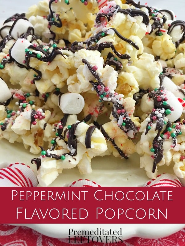 this peppermint chocolate drizzled popcorn recipe is a delicious holiday treat