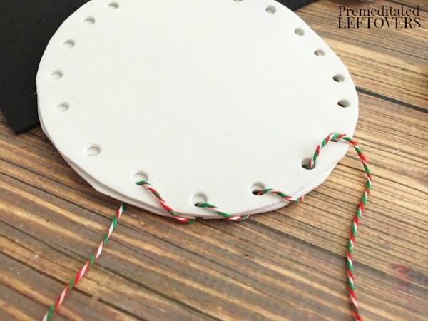 Foam Snowman Craft- string twine through holes