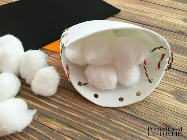 Foam Snowman Craft-stuff with cotton balls