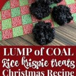 This lump of coal rice krispie treats recipe is perfect for Christmas parties!