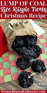 This lump of coal rice krispie treats recipe is an easy no-bake Christmas dessert