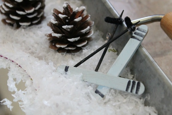 Winter Fairy Garden- homemade skis