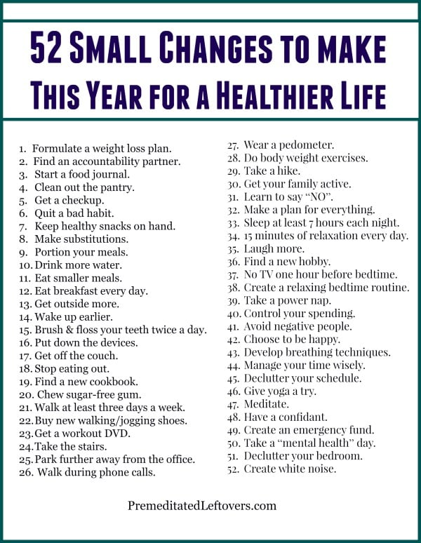 52 Small Changes you can make this year to lead a Healthier Life