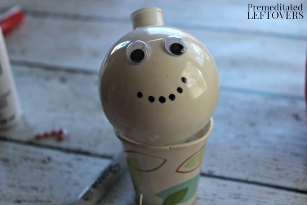 Snowman Christmas Ornament Craft- glue on eyes and add mouth
