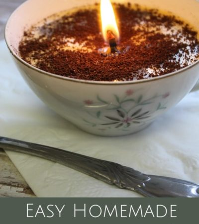 Give these Coffee Scented Candles as gifts to any coffee lover or use them to scent your home! The tutorial uses soy wax flakes and real coffee grounds.