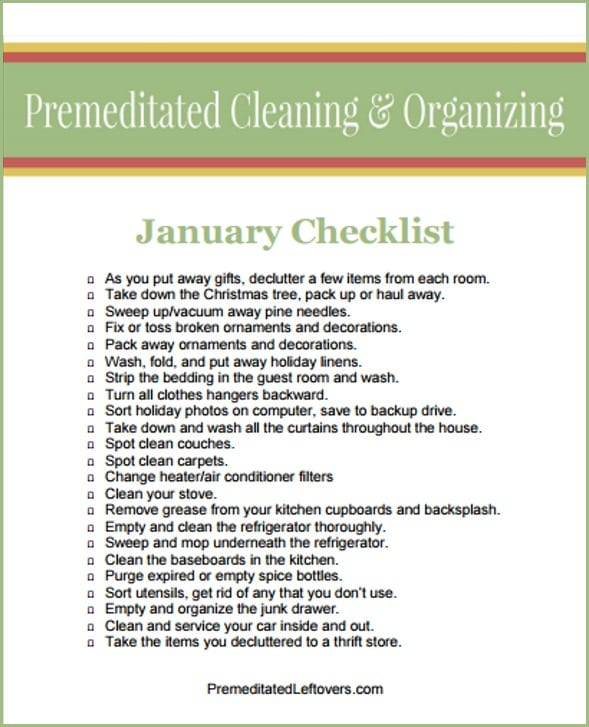 January Cleaning and Organizing Checklist - A free printable checklist to keep track of what you have done as you clean up after the holidays and start your new year off with a clean home.