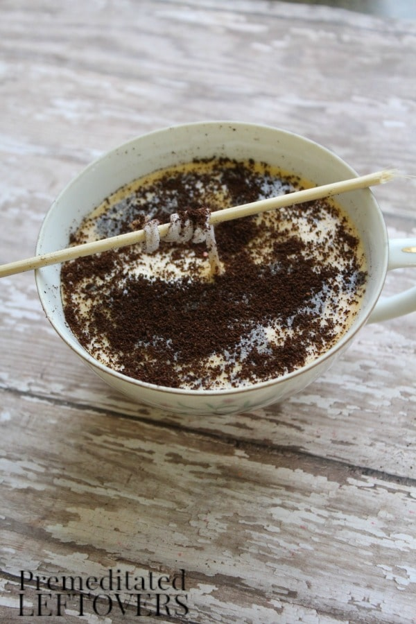 Coffee Scented Candles- sprinkle with remaining coffee grounds