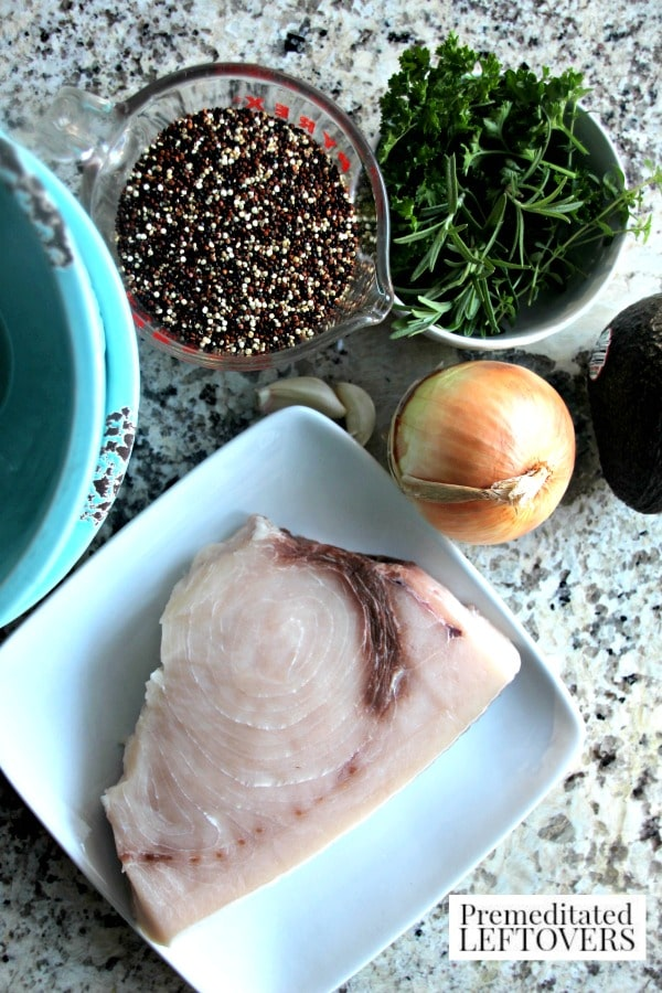 Red & White Quinoa Bowl with Swordfish and Avocado- ingredients