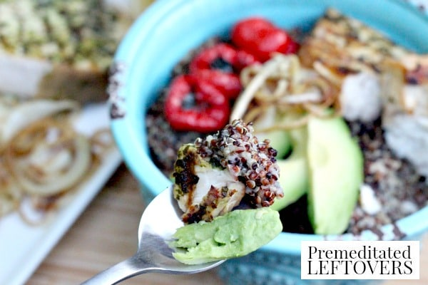 Start the new year off right! This Red & White Quinoa Bowl with Swordfish and Avocado is a delicious option. The recipe is packed with fiber and protein.