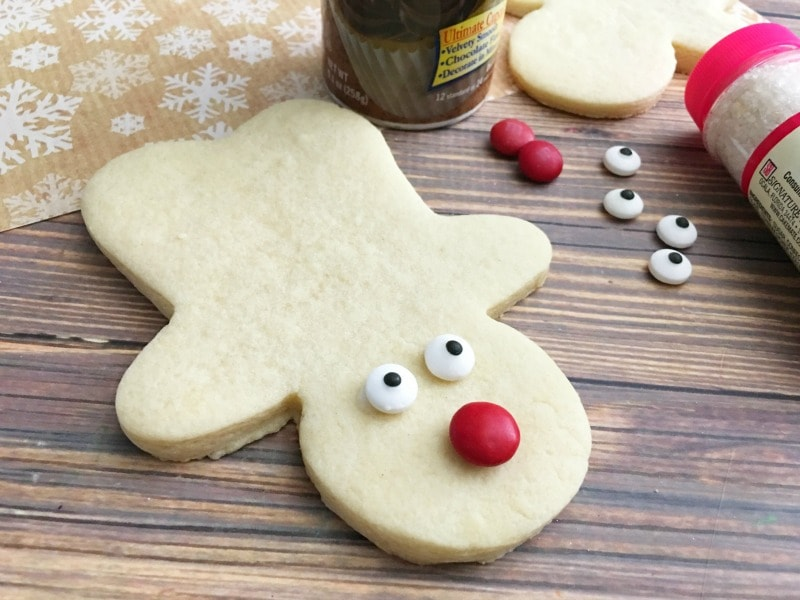 Rudolph Sugar Cookies-apply eyes and nose