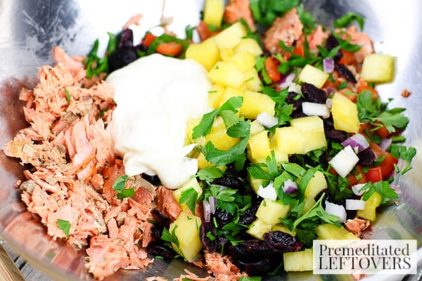 Savory Salmon, Cranberry, and Pineapple Salad- mix ingredients in a bowl