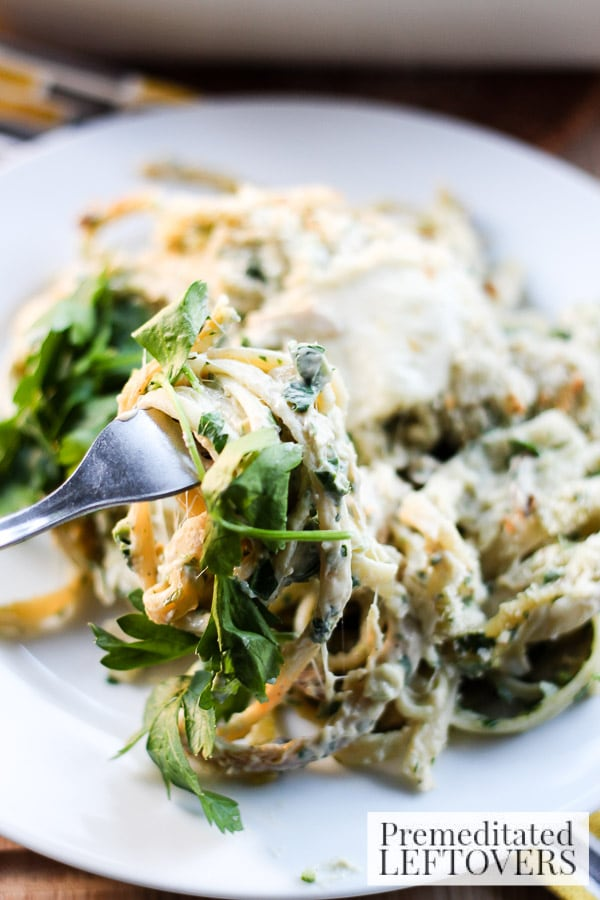 Use leftover turkey to make this delicious Shredded Turkey & Collard Green Pesto Linguine. This recipe uses a homemade and robust collard green pesto.