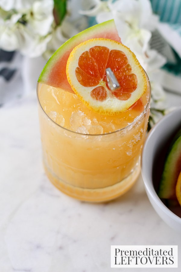 Enjoy a glass of sunshine regardless of the weather with this Watermelon and Orange Cocktail. This easy recipe includes a mix of spirits and fresh fruit.