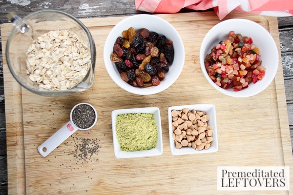 White Chocolate Dipped Oatmeal & Fruit Balls- ingredients