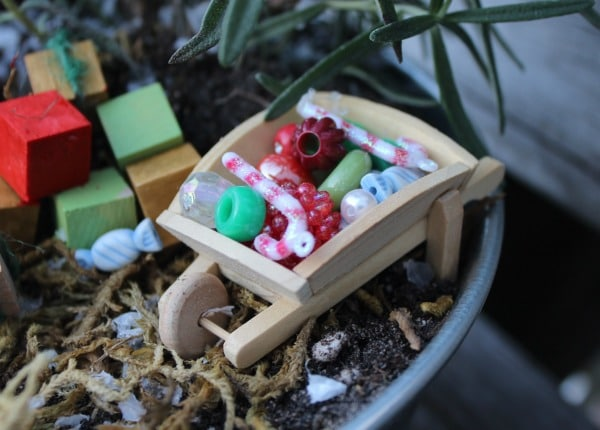 christmas fairy garden-wheelbarrow of goodies