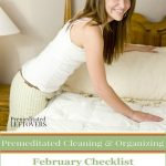 February Cleaning Checklist for cleaning and organizing your bedroom, bathroom, and living room