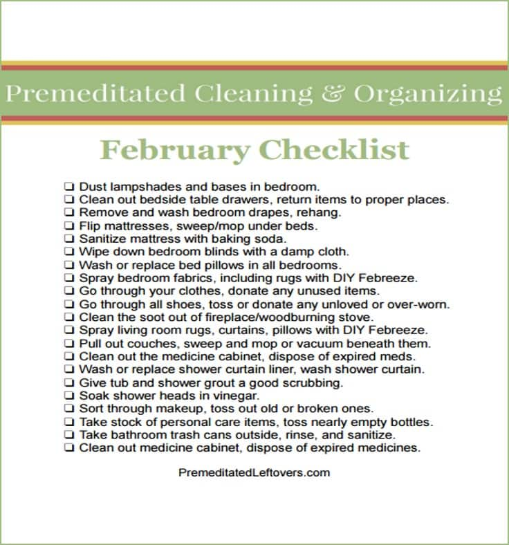 February Printable Cleaning Checklist - tips for cleaning your love nest