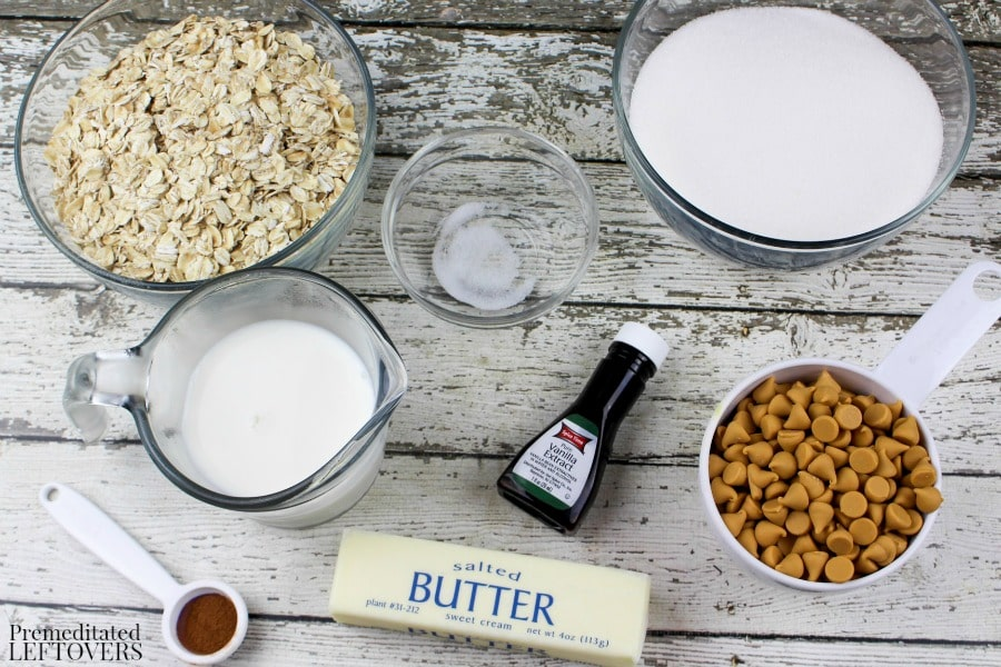 No Bake Oatmeal Butterscotch Cookies- cookie ingredients