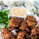 Kick off your football party with this easy Sweet and Spicy Chicken Wings recipe. These wings get an extra kick with a creamy Honey Sriracha Dipping sauce!