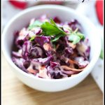 Barbecue and picnic season is just around the corner! Enjoy this Red Cabbage Cole Slaw with Sriracha Mayo recipe as a side dish or piled on top of burgers.